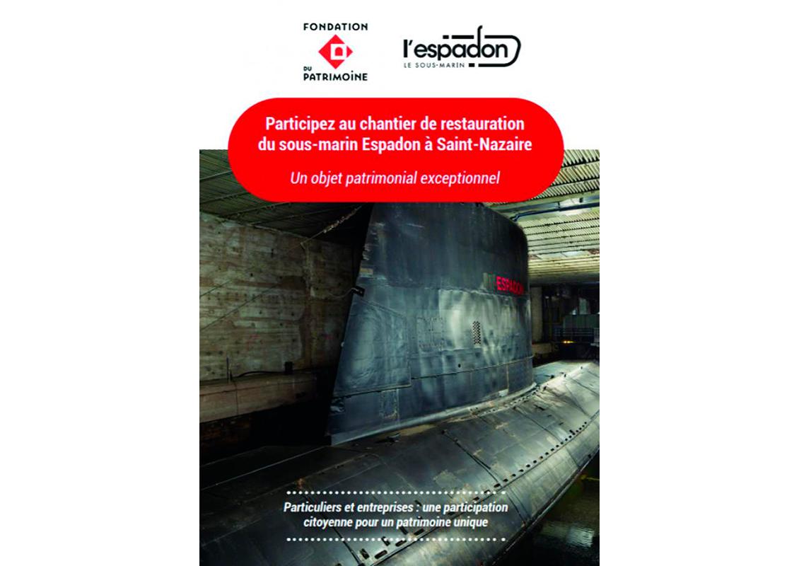 Flyer de souscription pour faire un don et contribuer au projet de restauration du sous-marin Espadon