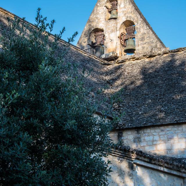 Toit de lauze de l'église de sainte nathalène