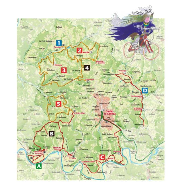 Carte des parcours VTT VTC du sarladais
