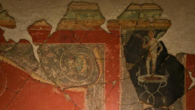 Détail peintures murales romaines < Musée Saint-Léger < Soissons