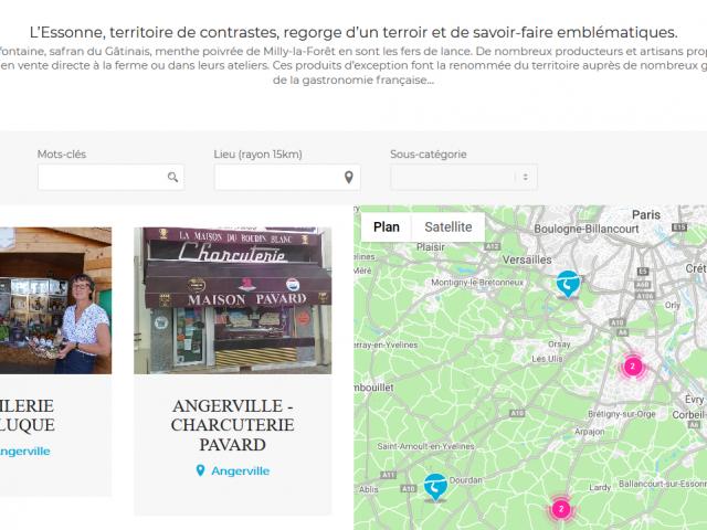 Carte interactive producteurs Esonne
