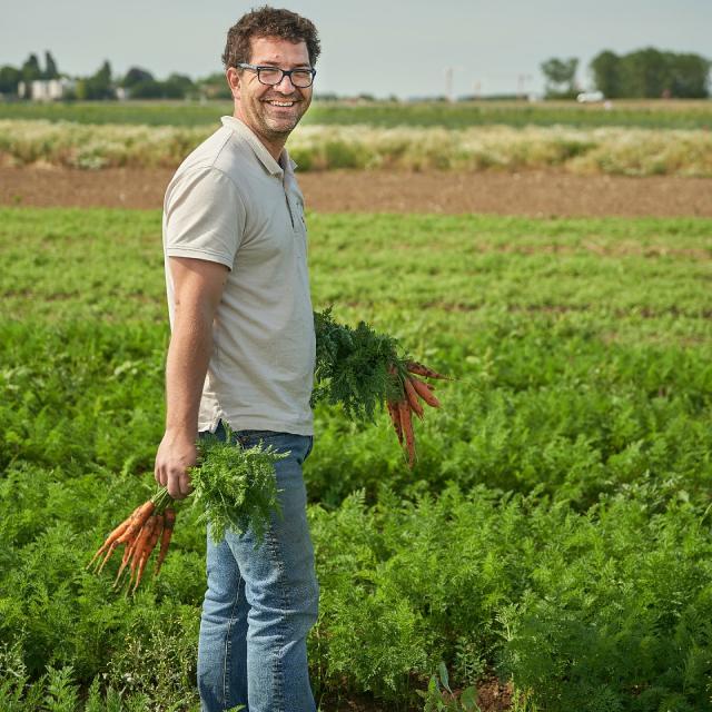 Ferme Trubuil - Pierre Bot ramassant des carottes