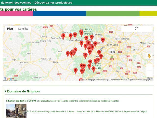Carte producteurs Yvelines