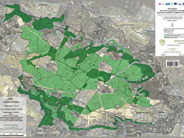 Carte montrant les limites de la Zone de Protection des espaces Naturels Agricoles et Forestiers