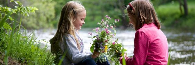 Enfants au bord d'une rivière