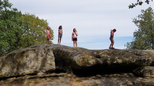 Enfants sur les pierres jaumâtres