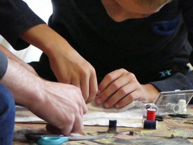Atelier au café de l'espace à Flayat