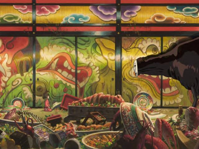Le Banquet Du Sans Visage (chihiro Presented To No Face), Projet De Tapisserie De 3 X 7,50 M. © 2001 Studio Ghibli Nddtm