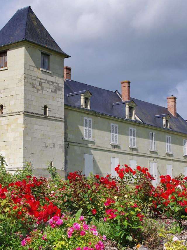 Vue du château de la Rouvraye derrière les roses