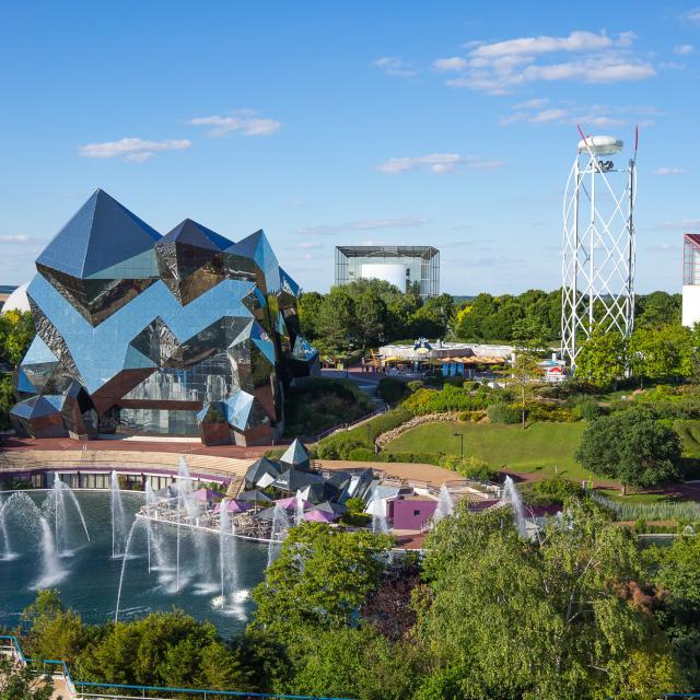 Vue d'ensemble, vue aérienne du Parc du Futuroscope