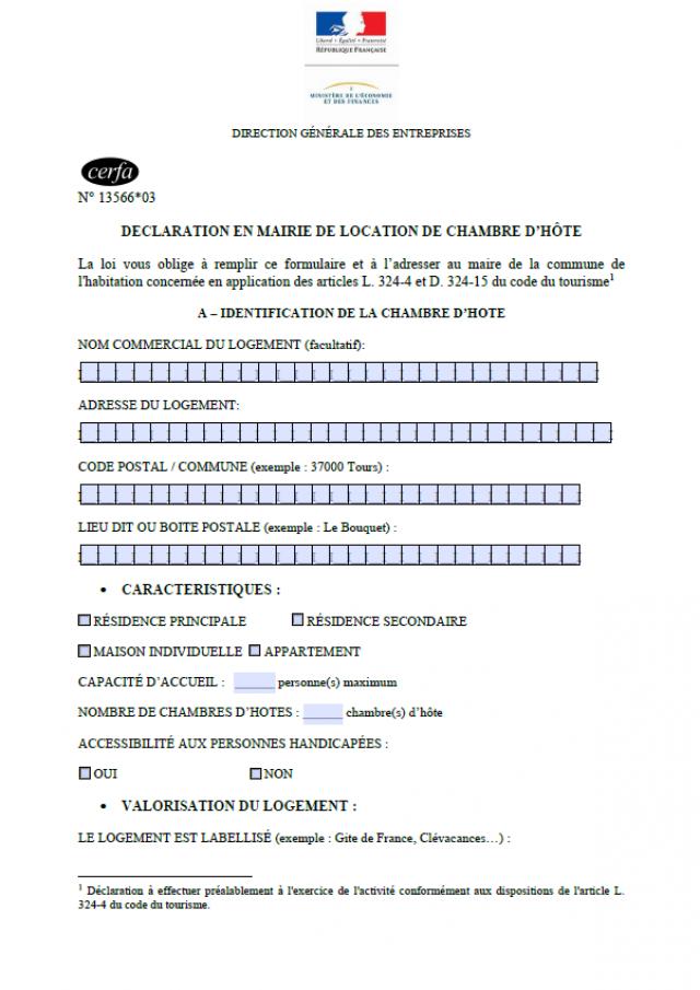Cerfa1356603 Chambre D'hôtes 2021