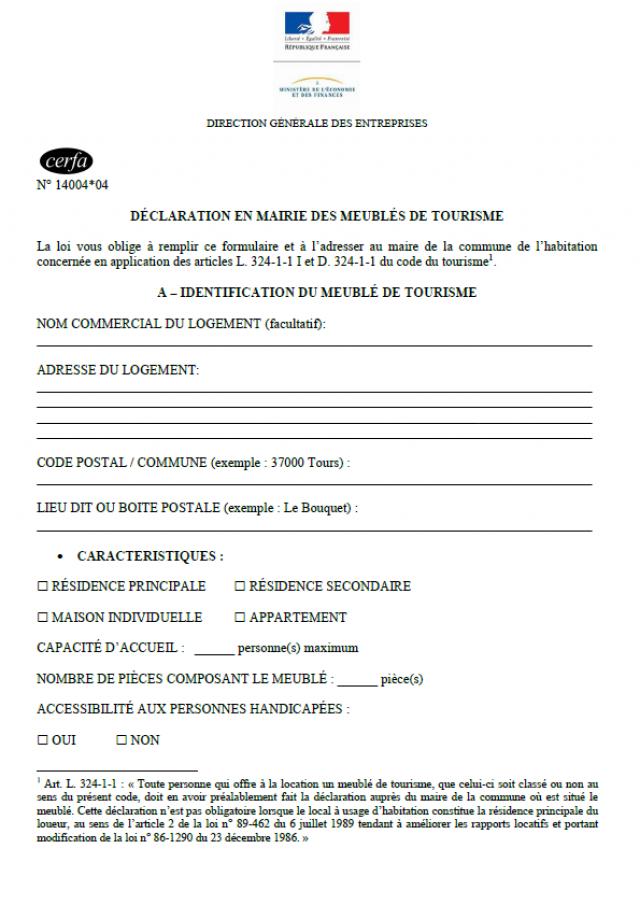 Cerfa1400404 Meublés De Tourisme 2021