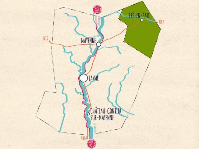 Carte de la Mayenne - Mont des Avaloirs