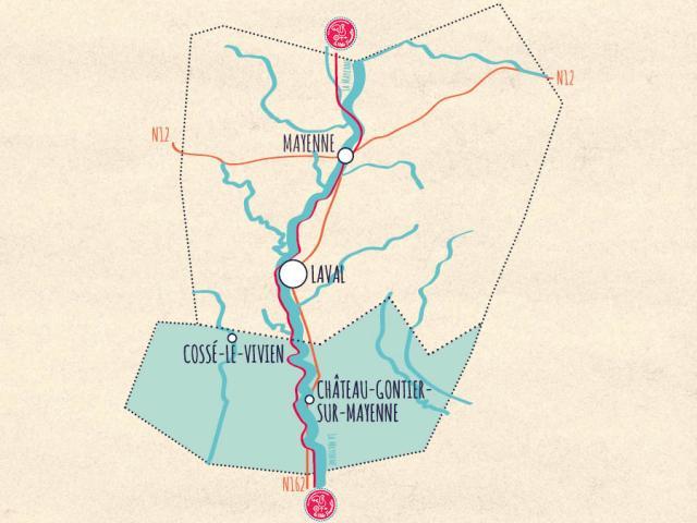 Carte de la Mayenne -Sud Mayenne