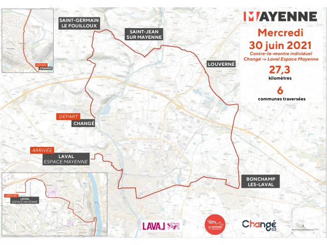 Parcours étape Laval Changé Tour De France 2021