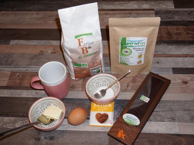 Ingrédients Mug Cake Chocolat Spiruline