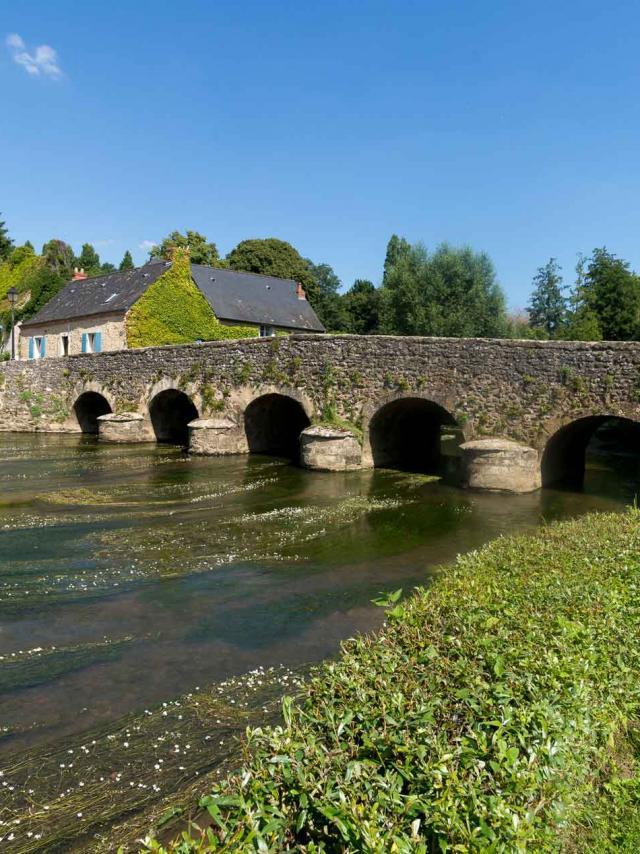 Asnières-sur-Vègre, petite cité de caractère, vue sur le pont médiéval
