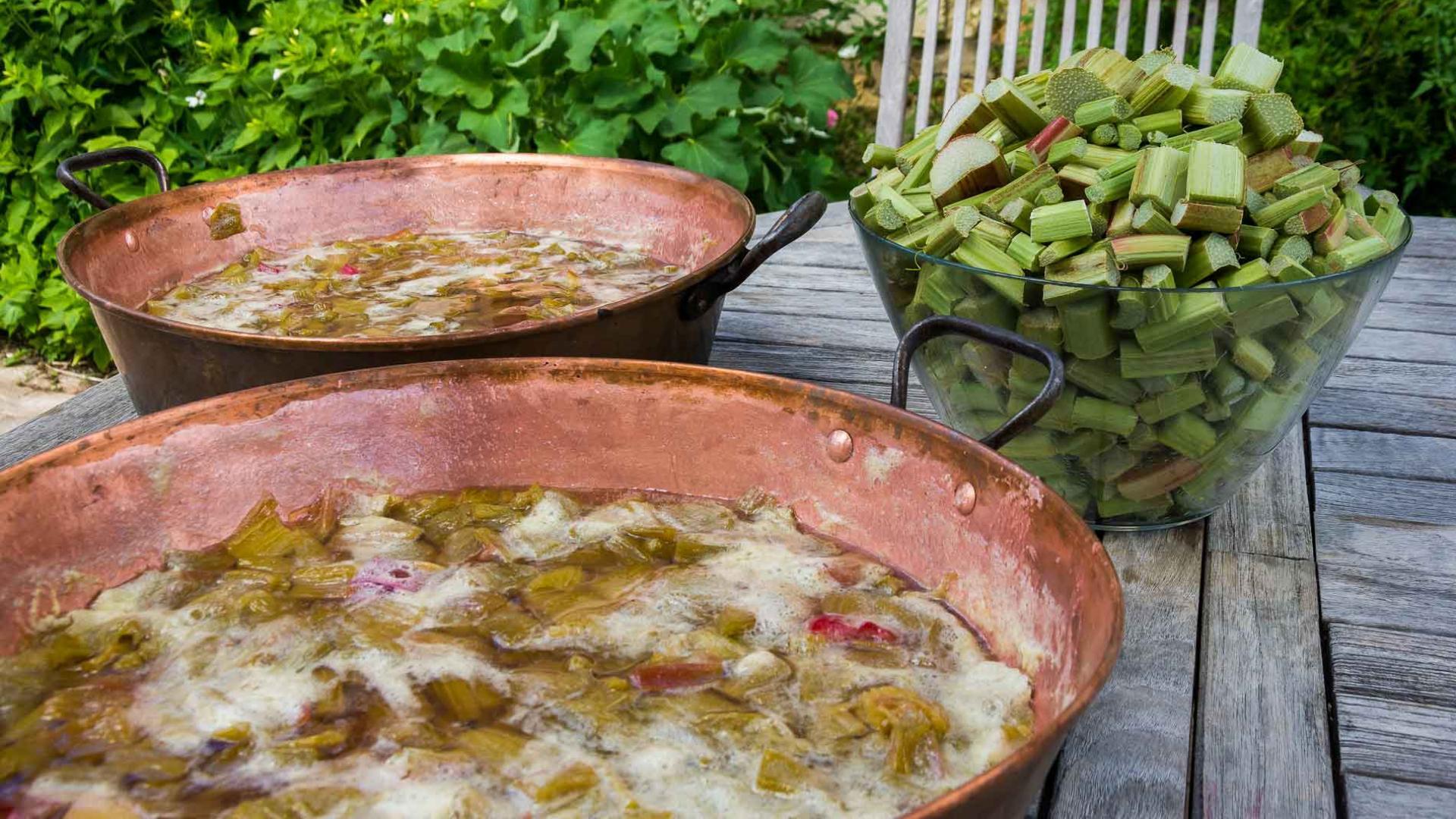 Confection de confiture à la Rubarbe à Balade au Jardin d'Epineu-le-Chevreuil