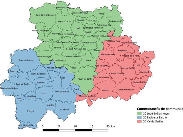Carte du territoire de l'Office de Tourisme de la Vallée de la Sarthe