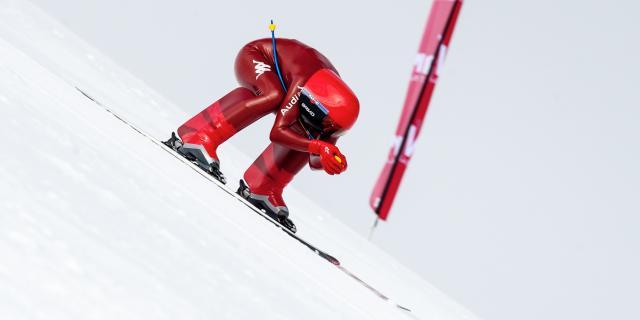 Simone Origone sur la piste de Chabrières, piste de ski de vitesse la plus rapide du monde