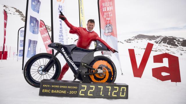 Eric Barone, recordman de vitesse en VTT sur neige sur la piste de Chabrières
