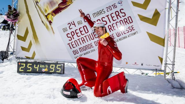 Ivan Origone, skieur le plus rapide du monde au pied de la piste de ski de vitesse de Vars