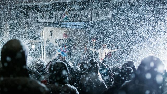 Concert sous des chutes de neige abondantes