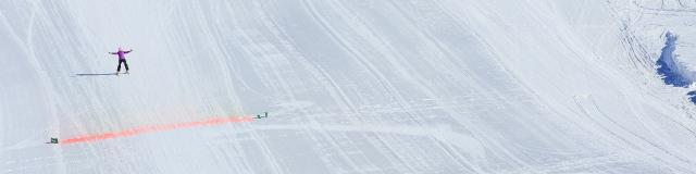 Test de ski de vitesse sur le bas de la piste de Chabrières