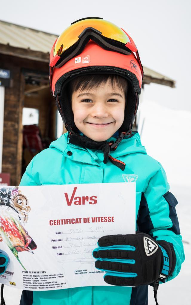 Certificat de vitesse sur le stade de ski de vitesse