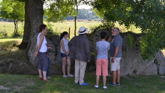 Touristes en visite à la Pierre Cochée à Droué