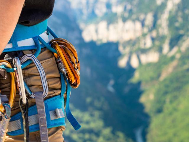 Escalade, Gorges du Verdon, Alpes de Haute Provence, Parc Naturel Régional du Verdon
