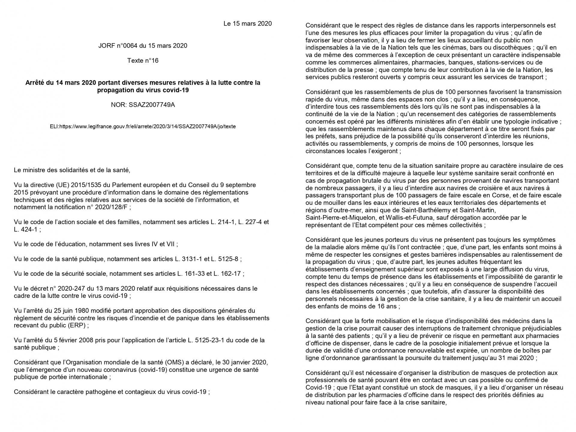 Arrêté Du 14 Mars 2020 (1)