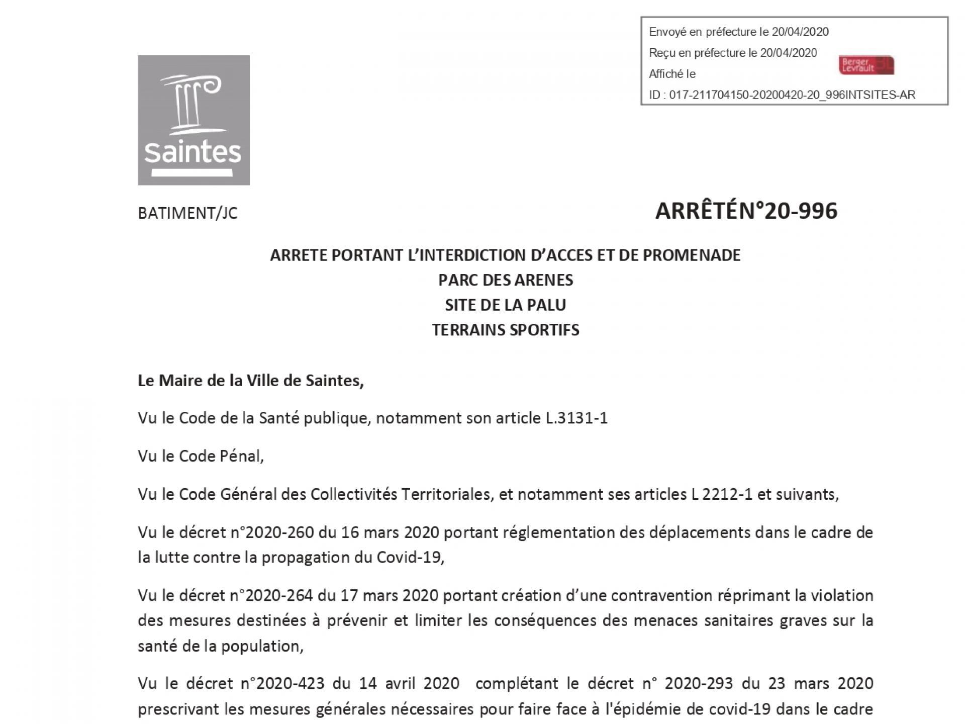 20 996 Arrêté Portant Interdiction Daccès Et De Promenade Parc Des Arènes La Palu Et Terrains Sportifs Page 0001