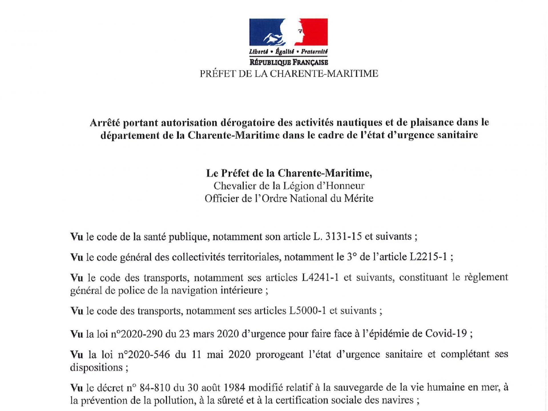 P017 20200515 Dérogation Activités Nautiques Et Plaisance Charente Maritime Page 0001