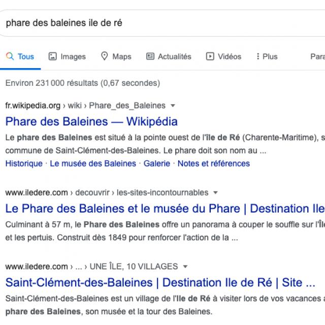 Résultat Google recherche phare des baleine Ile de Ré